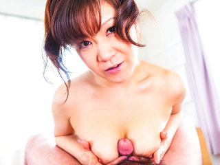 Big titty Ichika Asagiri on her knees sucking a hard dick and eating cum