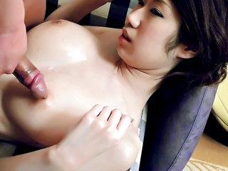 Big titty honey Huuka Takanashi is oiled up and her boobs fucked and creamed